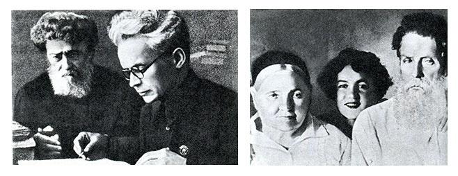 Довженко з батьком (ліворуч). Мати, сестра та батько Довженка (праворуч).