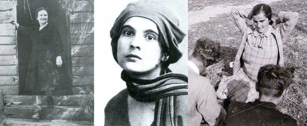 Перша дружина – Варвара Крилова-Довженко (ліворуч). Друге кохання та дружина Довженка – Юлія Солнцєва (у центрі та праворуч).